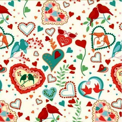 Smitten Hearts And Doves On Cream Cotton Fabric