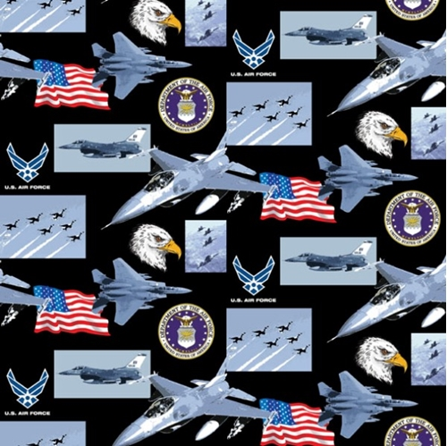 Military Air Force Scenes And Logos In Squares Cotton Fabric