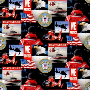 Military Coast Guard Scenes And Logos Squares Cotton Fabric
