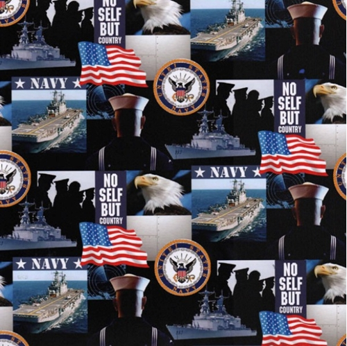 Military Navy Scenes and Logos in Squares Cotton Fabric