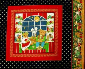 Holiday Christmas Bears With Candles Cotton Fabric Pillow Panel