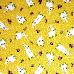 Springtime Easter Bunnies and Pansies Yellow Cotton Fabric
