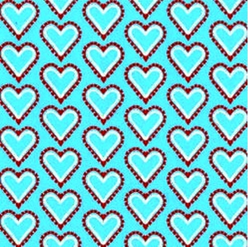 Smitten Hearts Red And Yellow On Blue Cotton Fabric
