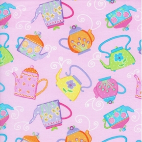 Teapots with Flowers on Pink Cotton Fabric