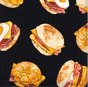 Picture of Breakfast Sandwiches Egg, Cheese, Ham and Bacon Cotton Fabric