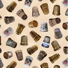 Picture of A Stitch In Time Vintage Thimbles Cotton Fabric