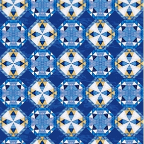 Picture of Sea Quilts Tiny Quilt Blocks on Dark Blue Cotton Fabric