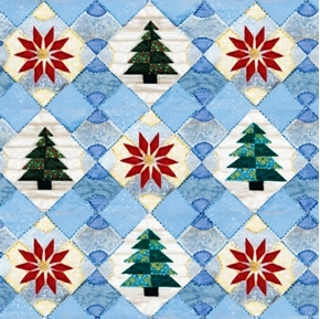 Picture of Christmas Quilts Rebecka Barker Trees Poinsettias Cotton Fabric