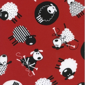 Fun Sewing and Knitting Sheep on Red Cotton Fabric