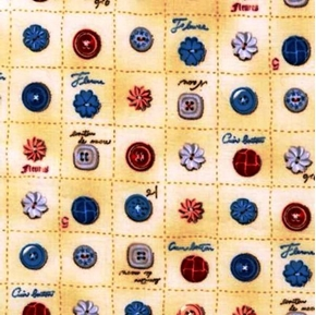 Vintage Couturier Buttons In Squares On Cream Cotton Fabric