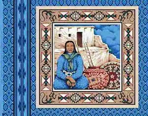 Indian Woman And Adobe On Blue Cotton Fabric Pillow Panel