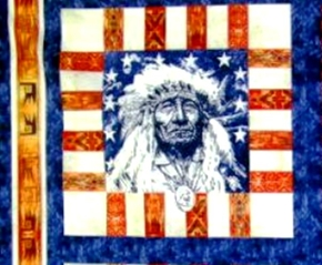 Spirit Of America Indian Cotton Fabric Pillow Panel