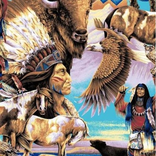 Native American Indian And Buffalo Collage Cotton Fabric