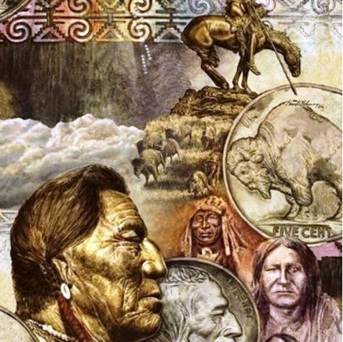 Five Cent Buffalo Nickel Indians Collage Cotton Fabric