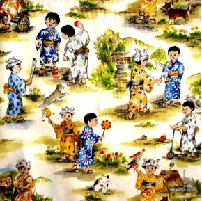 Picture of Otokonoko Oriental Little Boys Playing Cotton Fabric