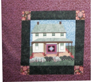 Picture of Amish House and Garden on Plum Cotton Fabric Pillow Panel