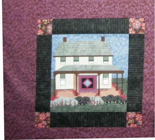 Amish House And Garden On Plum Cotton Fabric Pillow Panel