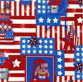Vintage Americana Red White And Blue Patch Cotton Fabric