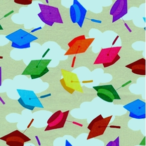 Picture of Hallmark Graduation Day Caps Galore on Grey Cotton Fabric