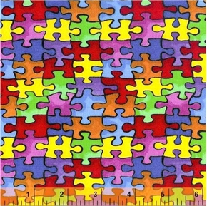 Autism Awareness Windham Puzzle Pieces Cotton Fabric