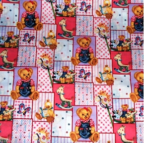Blue Jean Teddy Blossom and Friends Patch Cotton Fabric