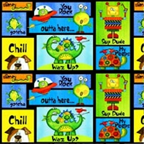 Picture of All About Boys Boy Things and Phrases Patch Cotton Fabric