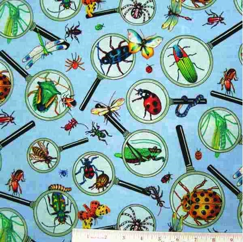 Magnified Insects Bug Collection Blue Cotton Fabric