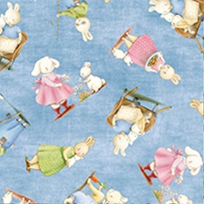 Picture of Rock A Bye Bunny Bunnies by the Bay Blue Cotton Fabric
