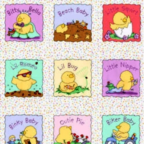Play Day For Peep Squeaks Squares 24X22 Cotton Fabric