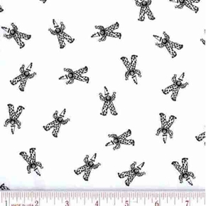 Tiny Clowns in Black and White Cotton Fabric