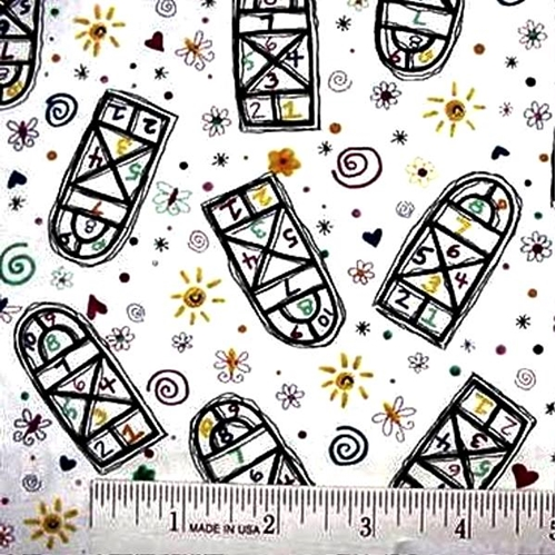 Playmates Hopscotch On White Cotton Fabric