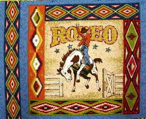 Picture of Rodeo Bucking Bronco Cotton Fabric Pillow Panel