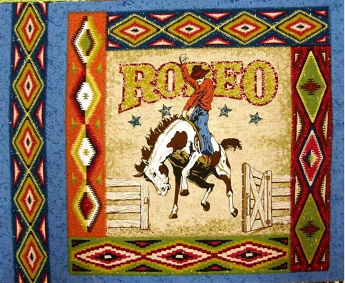 Rodeo Bucking Bronco Cotton Fabric Pillow Panel