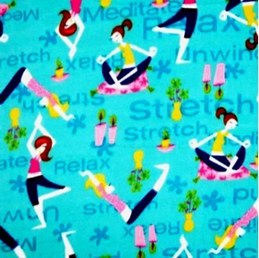Meditate Women Doing Yoga On Blue Half Yard Fleece Fabric