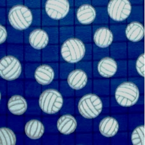 Picture of Volleyballs Against the Net on Blue Half Yard Fleece Fabric