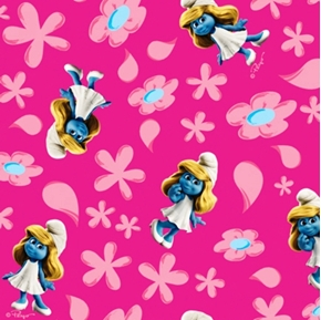 The Smurfs Smurfette and Flowers on Pink Half Yard Fleece Fabric
