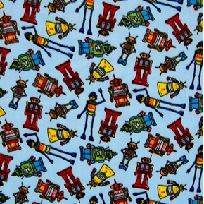 Picture of Cute Robots on Blue Half Yard Fleece Fabric