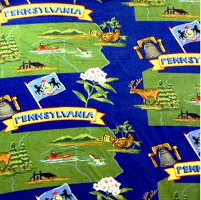 Pennsylvania the Keystone State Scenic Map Half Yard Fleece Fabric