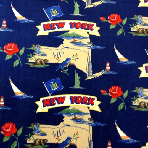 New York the Empire State Scenic Map Half Yard Fleece Fabric