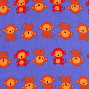 Picture of Monkey Business Monkeys in Rows Purple Half Yard Fleece Fabric
