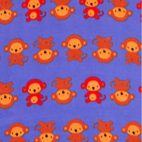 Monkey Business Monkeys in Rows Purple Half Yard Fleece Fabric