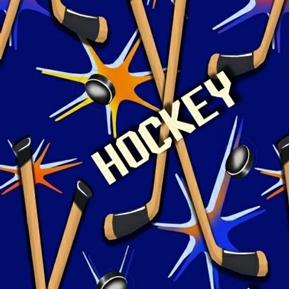 Picture of Hockey Sticks Pucks on Blue Half Yard Fleece Fabric