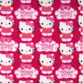 Hello Kitty Cupcakes and Polka Dots Half Yard Fleece Fabric