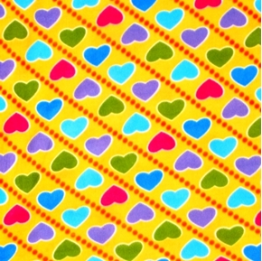 Colorful Hearts in Diagonal Rows on Yellow Half Yard Fleece Fabric