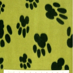 Picture of Dog Paw Prints Black Paws on Brown Half Yard Fleece Fabric