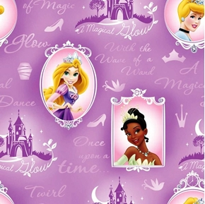 Picture of Disney Princess Cameo Purple Cinderella Belle Half Yard Fleece Fabric