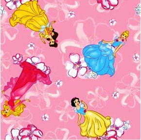 Disney Blossom Princess Toss on Pink Half Yard Fleece Fabric