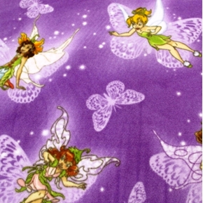 Picture of Disney Fairies on Butterflies Purple Half Yard Fleece Fabric