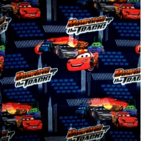 Disney Pixar Cars Burning Up The Track Half Yard Fleece Fabric