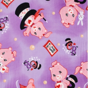 Picture of Care Bears Pink Bear Magic Show on Purple Half Yard Fleece Fabric